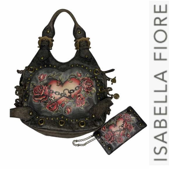 Isabella Fiore Hearts+Chains Tattoo Bag+Wallet